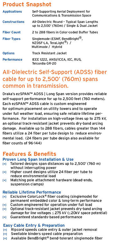 EZSpanADSS Fiber Optic Cable